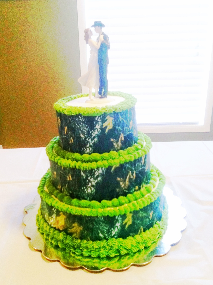 Camo Wedding Cake 3 tier wedding cake with edible image camouflage wrapped around the cake