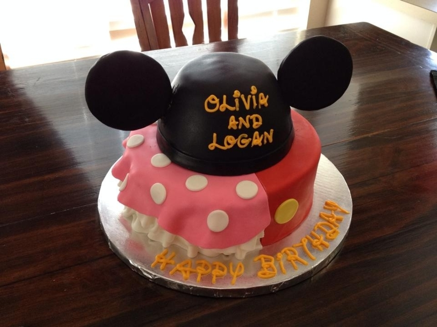 Minniemickey Birthday Cake For Brother And Sister In Between