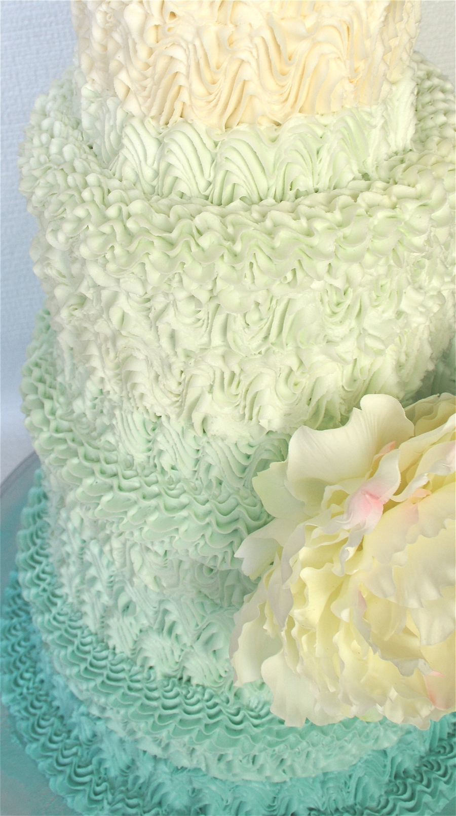 Turquoise Ombre With Peony By Mili - CakeCentral.com