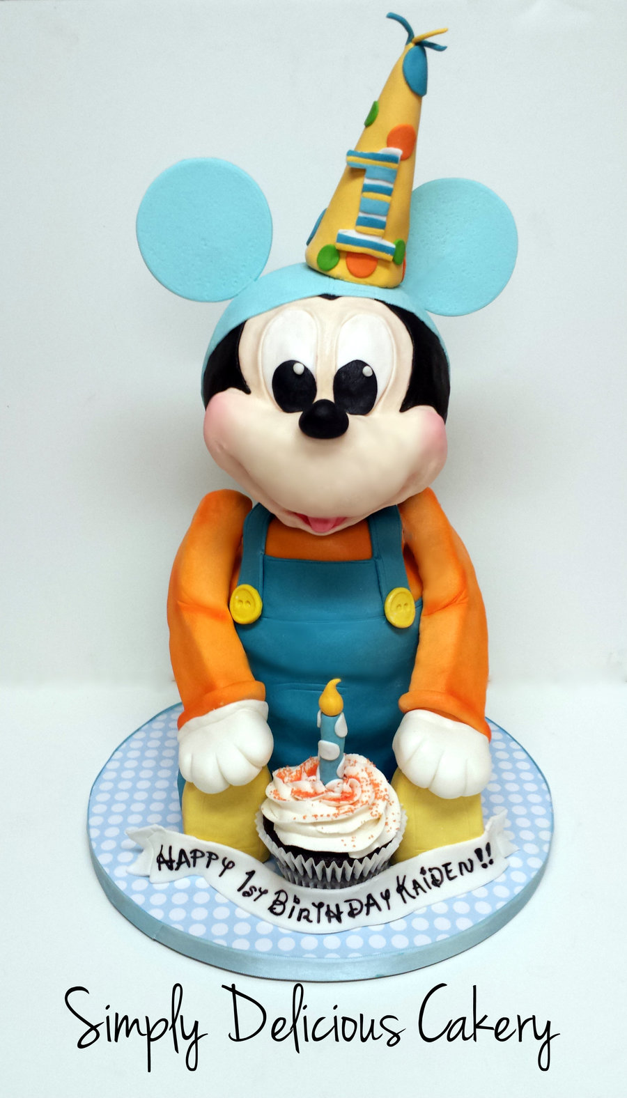 Enjoyable 3D Baby Mickey Mouse 1St Birthday Fondant With Fondant Accents Funny Birthday Cards Online Elaedamsfinfo