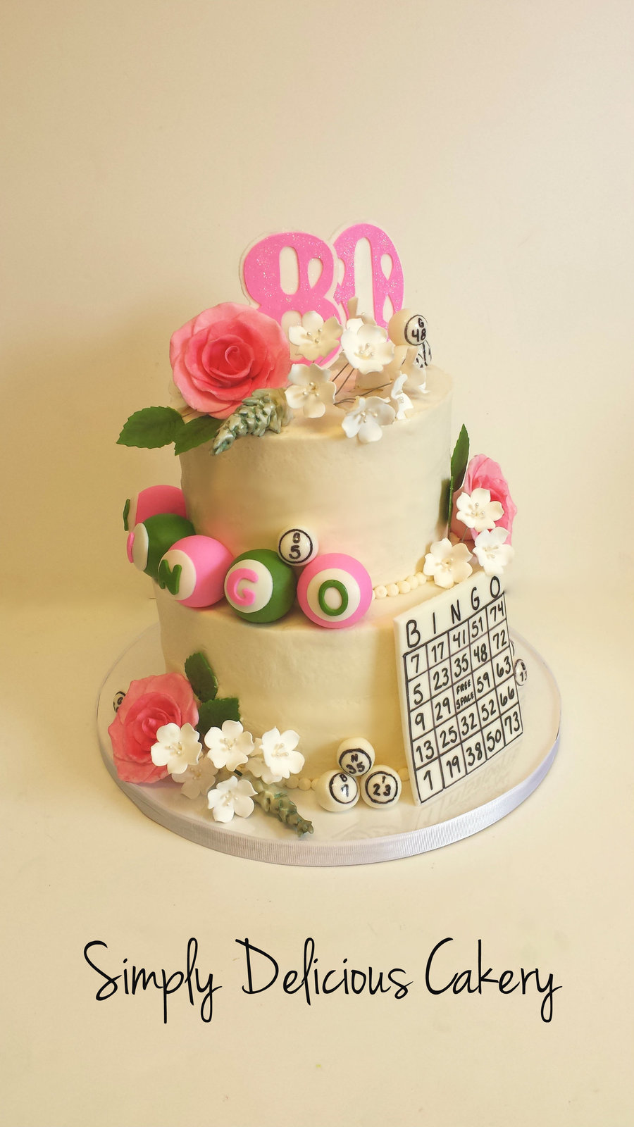 80Th Bingo Birthday Cake Buttercream With Fondant Accents With