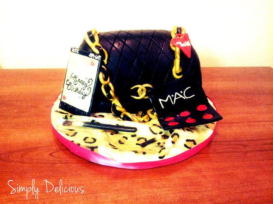 Chanel Purse With Phone And Make Up Hand Painted Details Marble With Buttercream on Cake Central