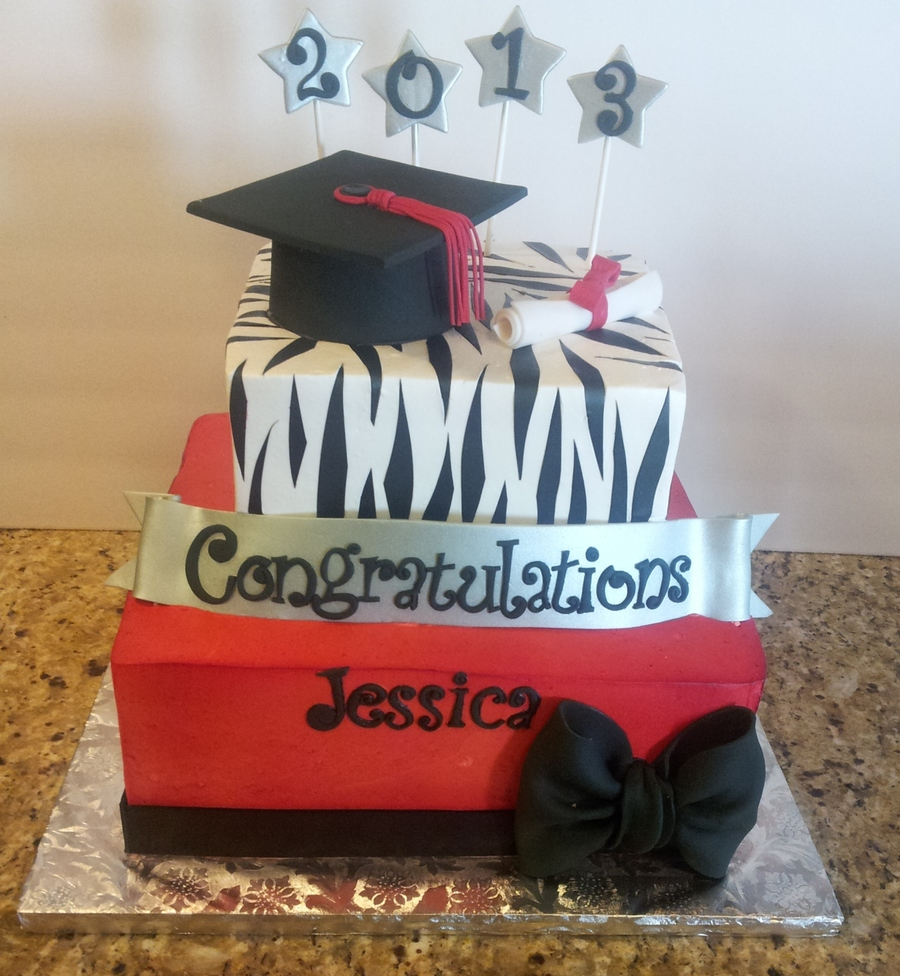 Red, Black, Silver And Zebra! on Cake Central