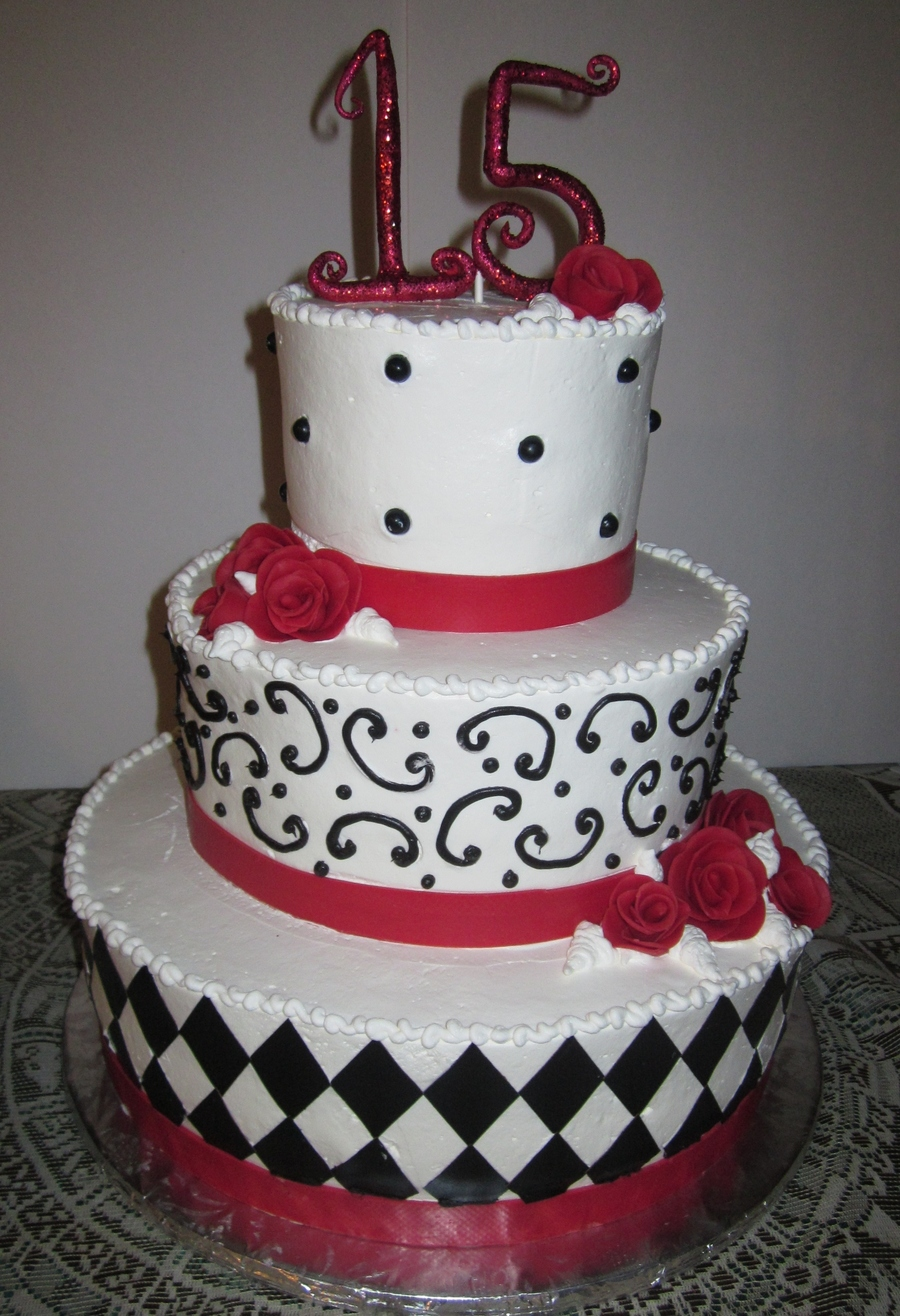 Red,black And White Cake on Cake Central