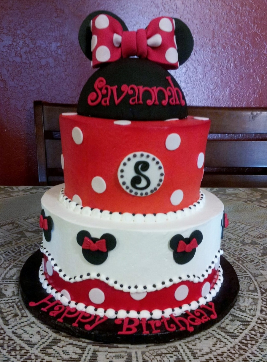 Cool Classic Red Minnie Mouse Cake Cakecentral Com Funny Birthday Cards Online Overcheapnameinfo