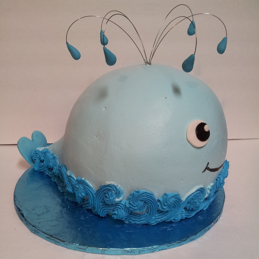 Chubby Whale Baby Shower Cake on Cake Central