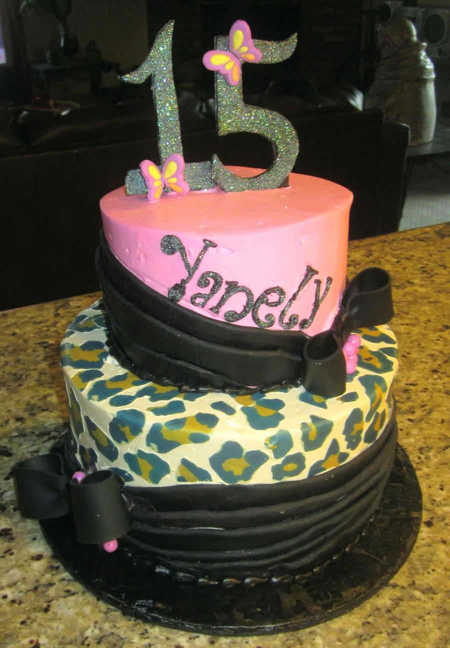 Pink & Leopard Birthday Cake  on Cake Central