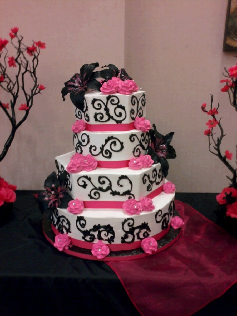 Black, Pink & Hot Pink Cake on Cake Central