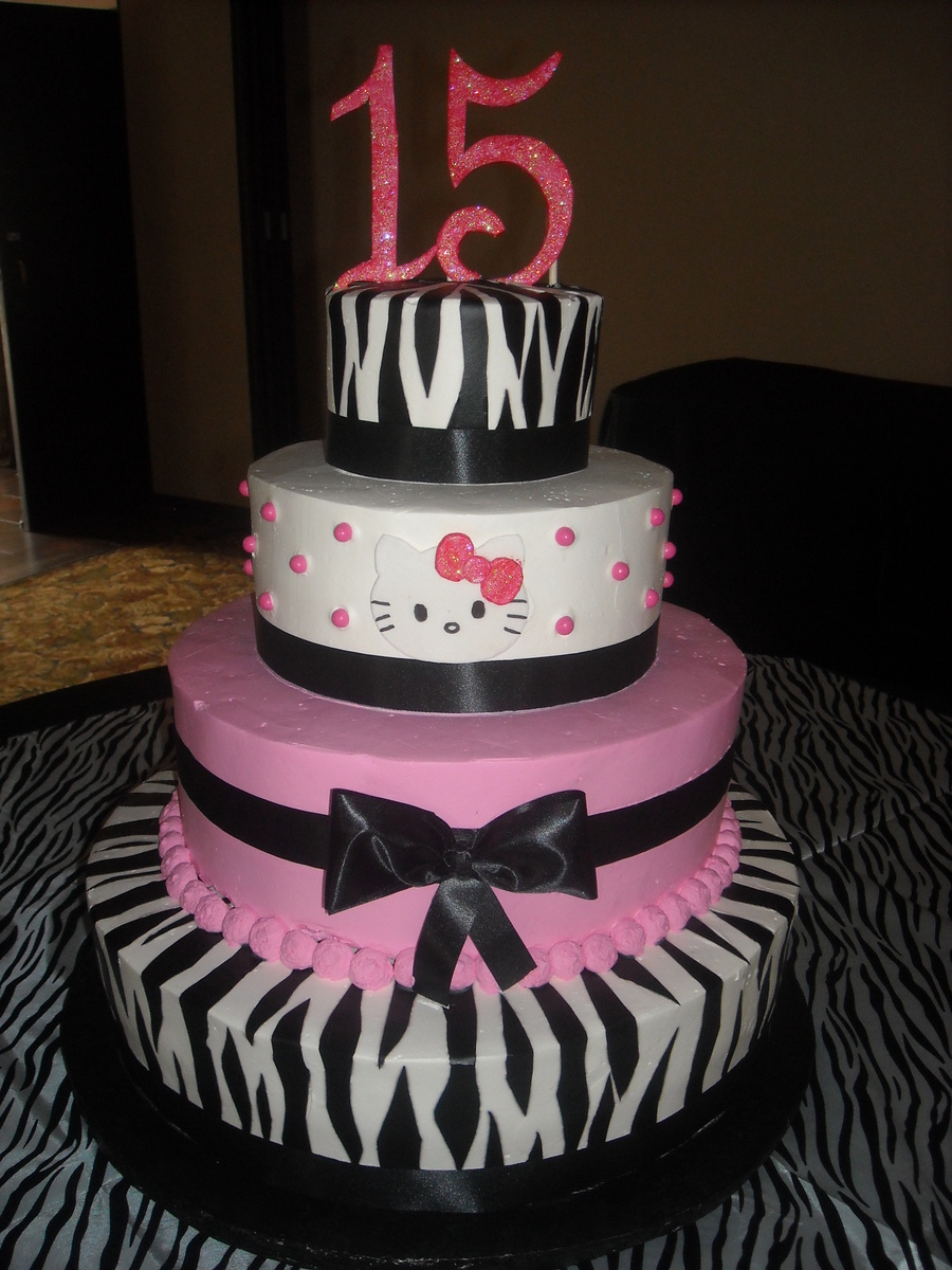 Hello Kitty/zebra Cake on Cake Central