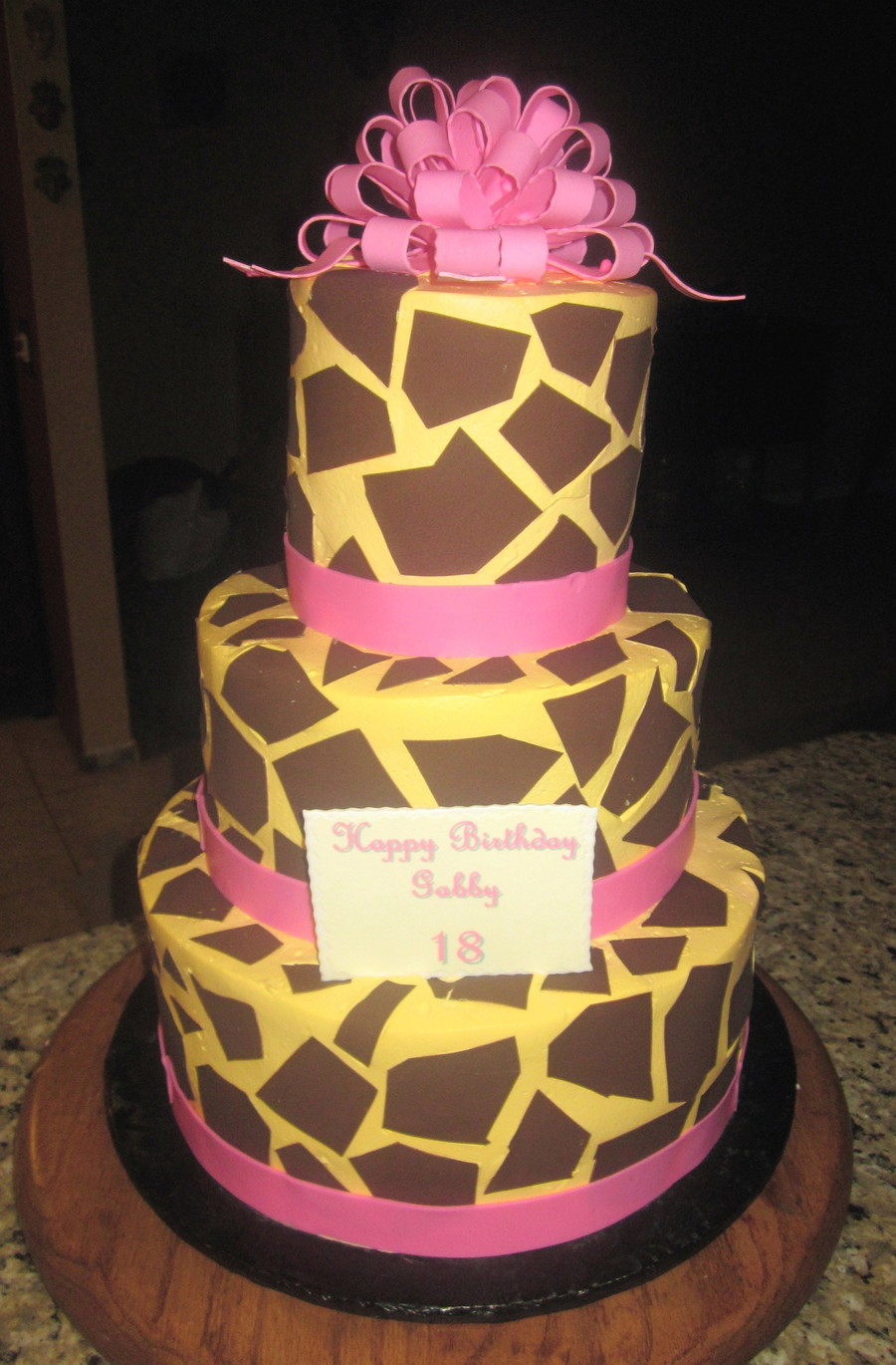 Pink And Giraffe Print 18Th Birthday Cake on Cake Central