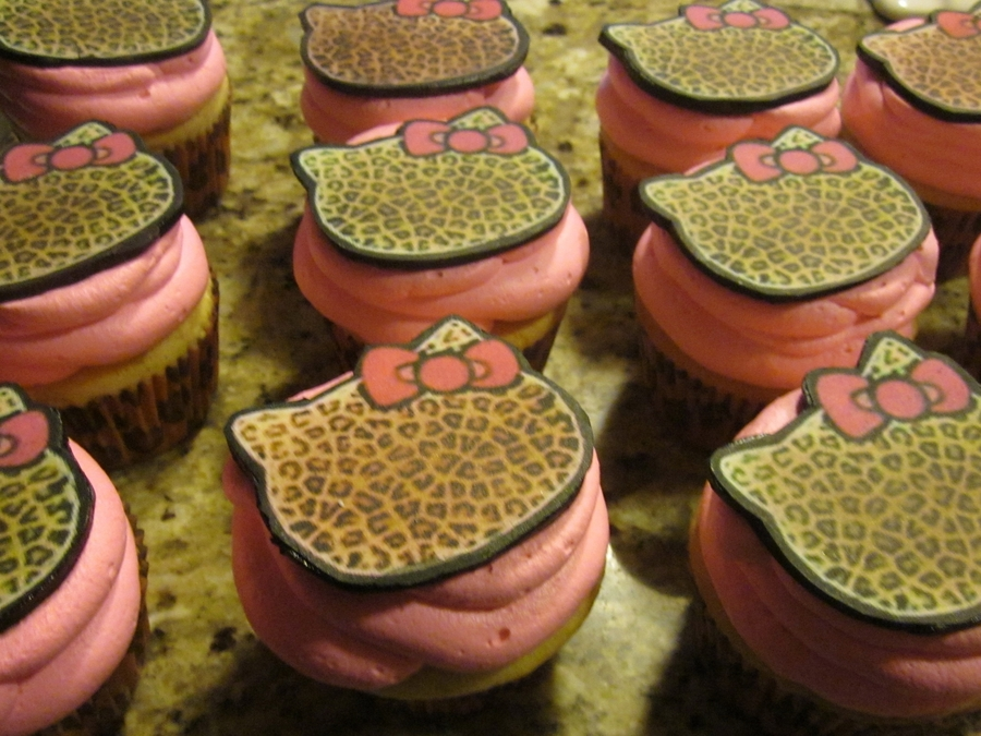 Hello K Itty Leopard Cupcakes on Cake Central