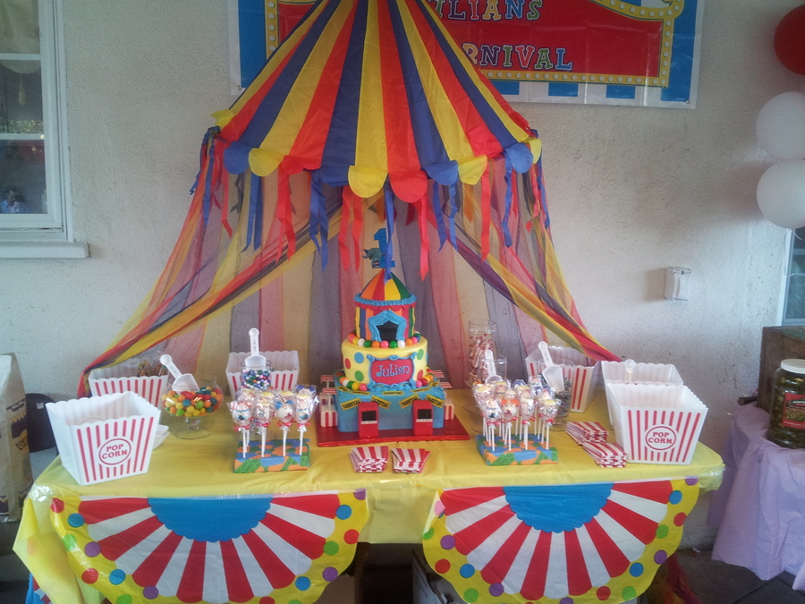Carnival Themed Cake And Candy Buffet Table Cakecentral Com