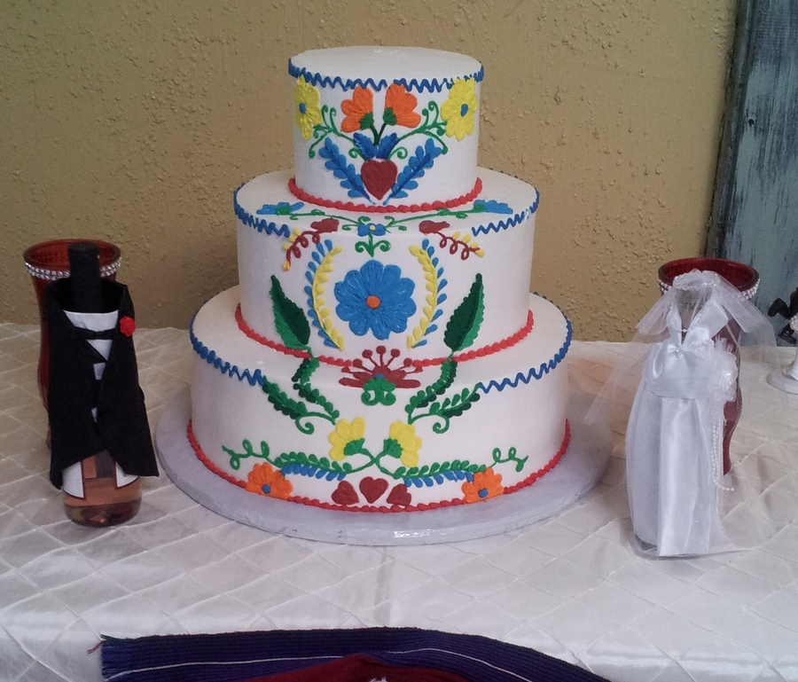 Vintage Embroidered Mexican Wedding Cake - CakeCentral.com