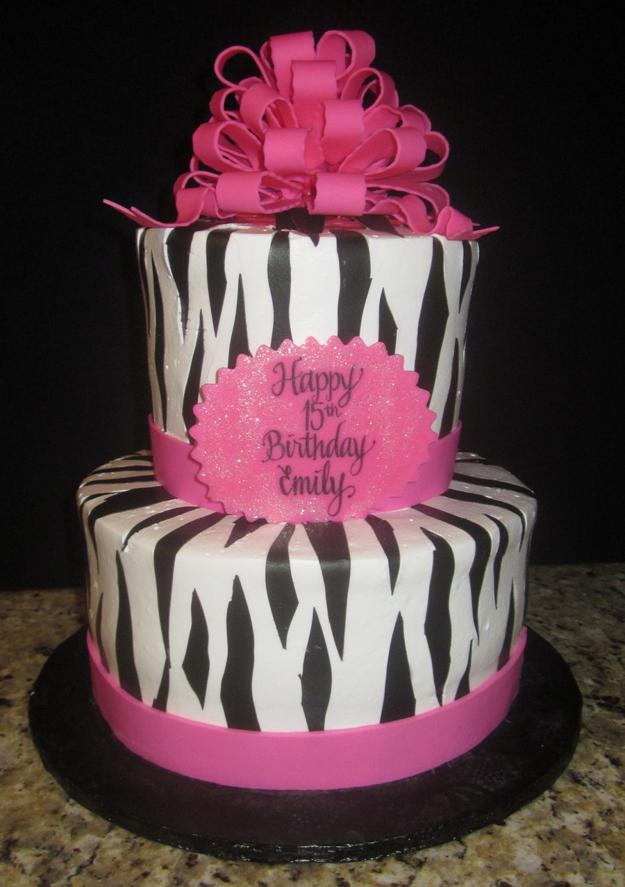 Hot Pink & Zebra Birthday Cake on Cake Central