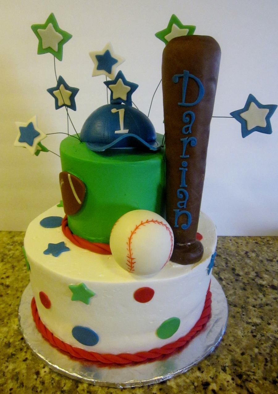 6 And 10 Frosted In Pastry Pride The Is A Sports Themed Cake For A Babys 1St Birthday The Cap Is Gumpaste The Bat Is Rice Crispy Treat on Cake Central