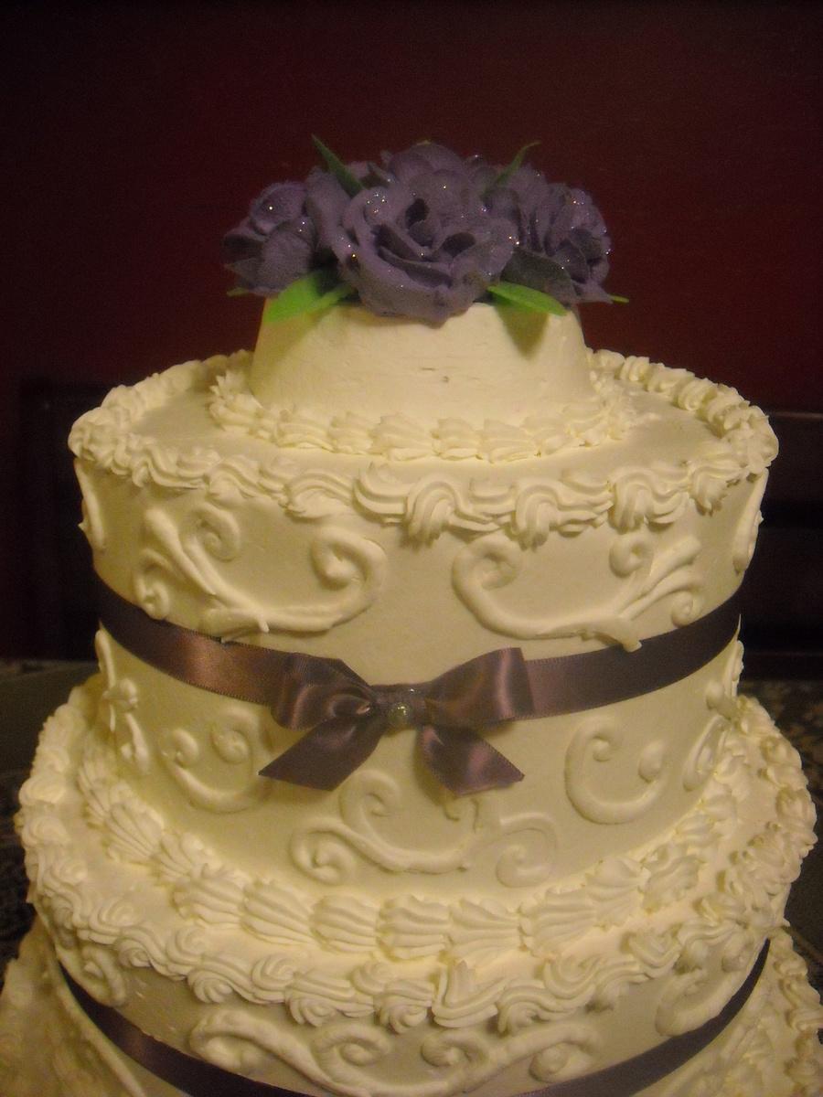 Purple Roses & Bows Quincenera Cake - CakeCentral.com