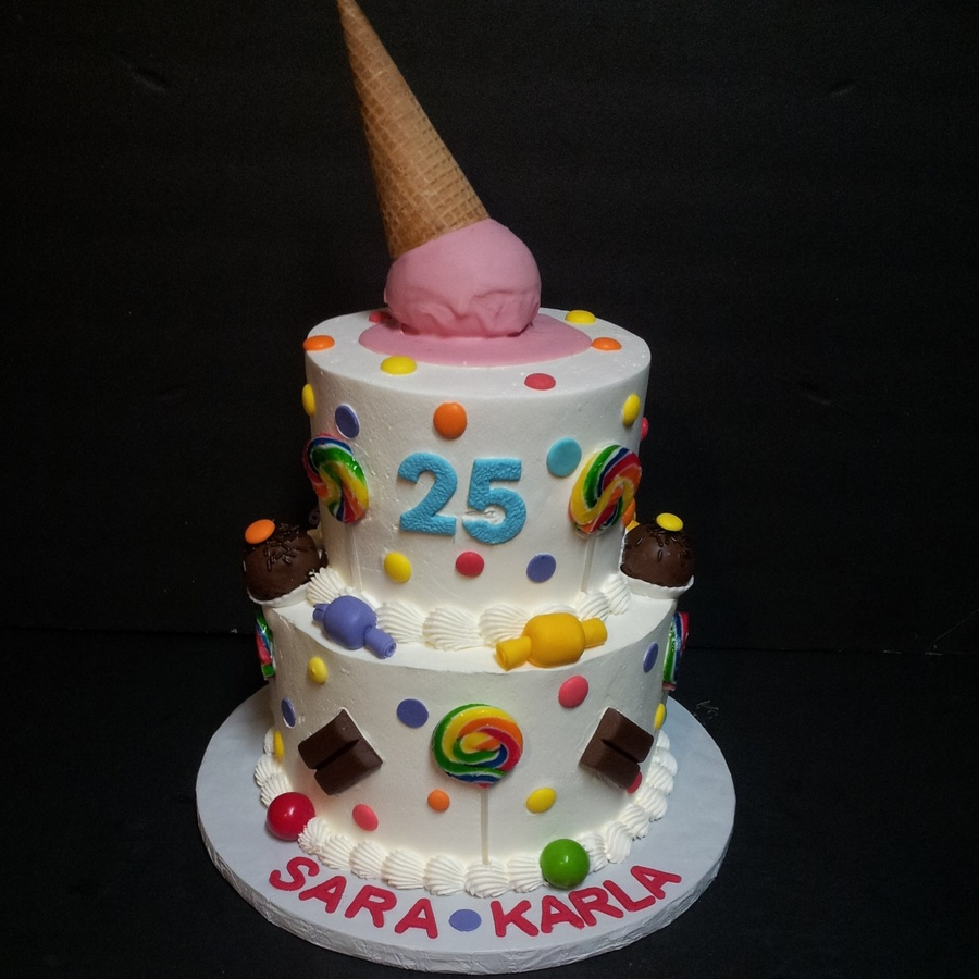 6 8 Rounds Frosted In Pastry Pride A Fun Candy Themed Birthday Cake Everything Is Handmade And Edible Except For The Lollipop Sticks