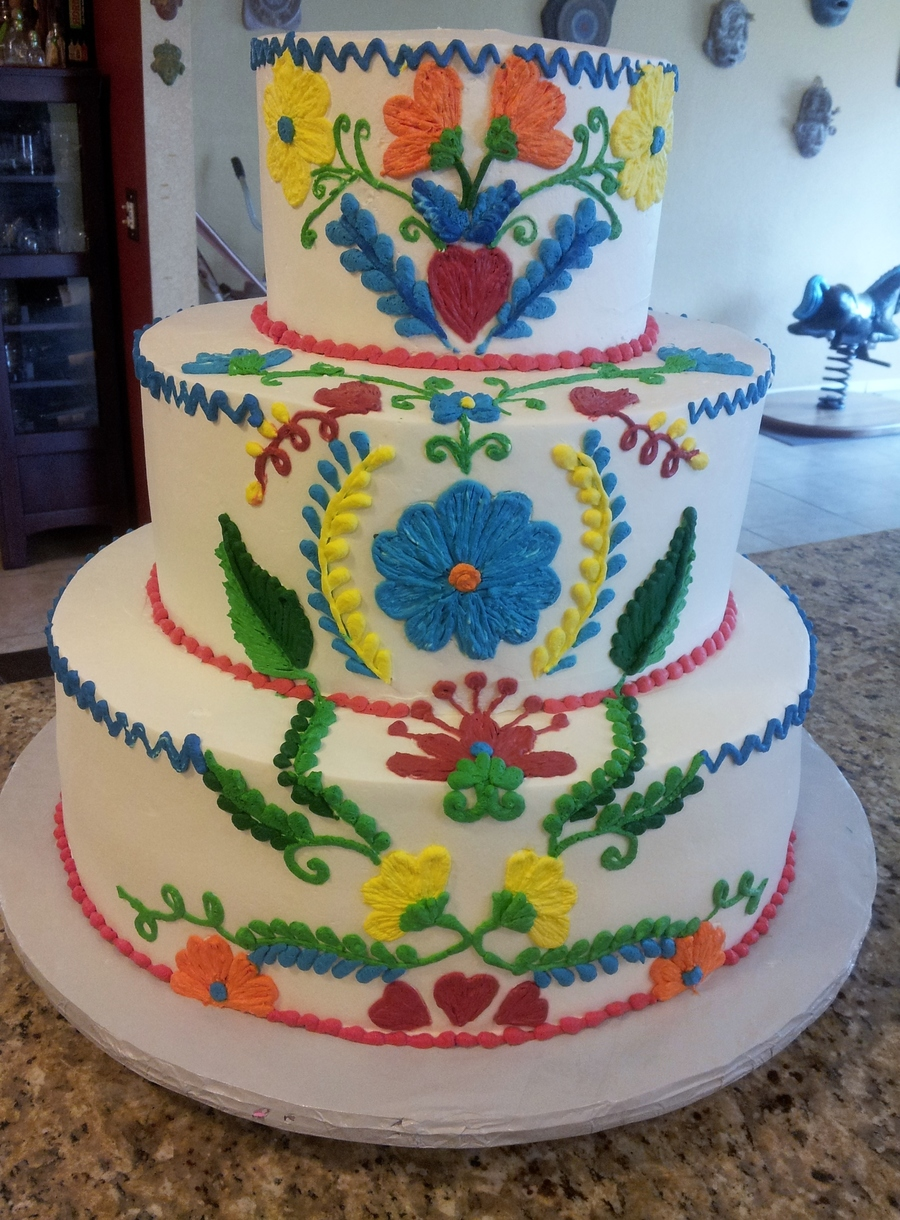 "16"" round cakes all frosted and decorated in Pastry Pride. The cake ..."