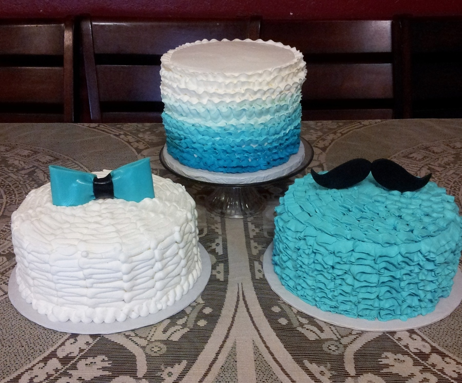 Its A Boy All Frosted In Pastry Pride Bowtie And Moustache Cakes Are 10Inch Rounds And The Ombre Cake Is 3 8 Inch Rounds on Cake Central