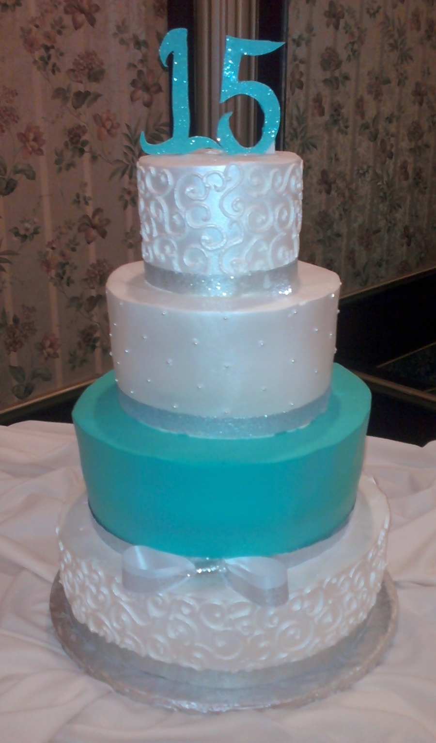 Shimmery Siver And Turquoise on Cake Central
