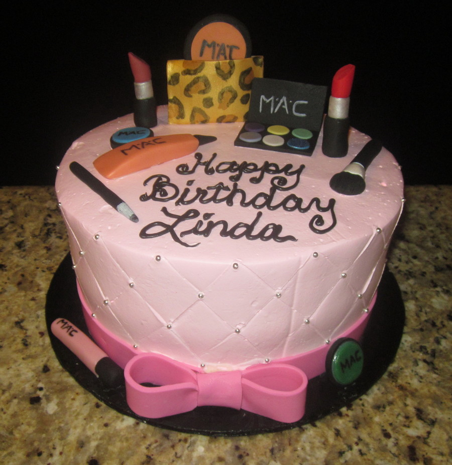 Mac Makeup Cake Frosted In Pastry Pride All Makeup Was Made From Gumpaste Ribbon Is Modeling Chocolate on Cake Central