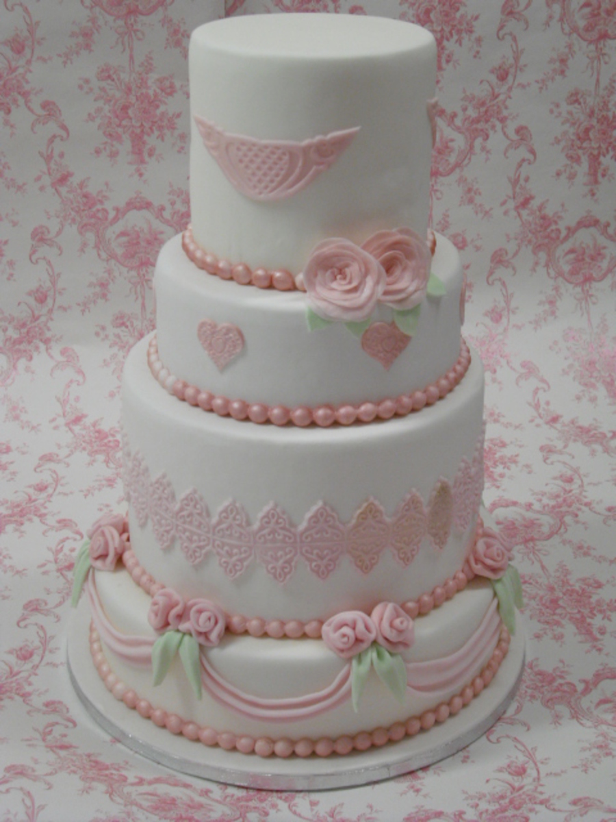 Pink And White Wedding Cake on Cake Central