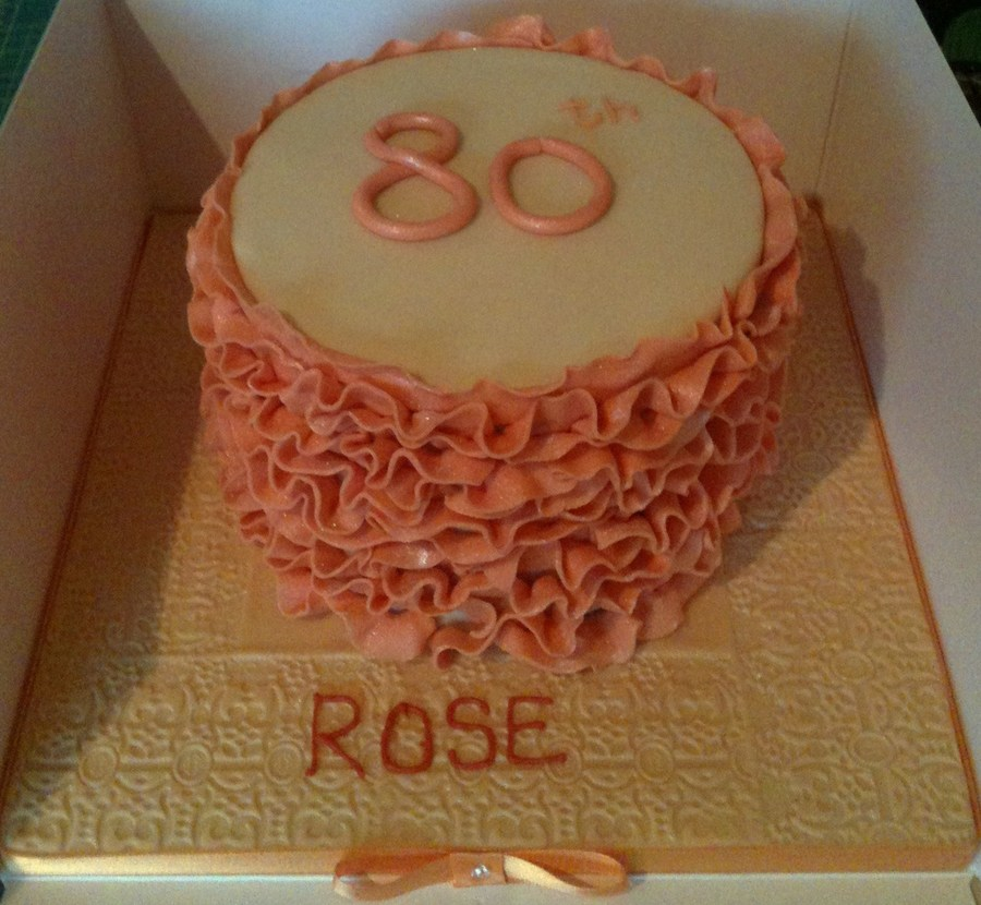 Peach Ruffles Birthday Cake  on Cake Central