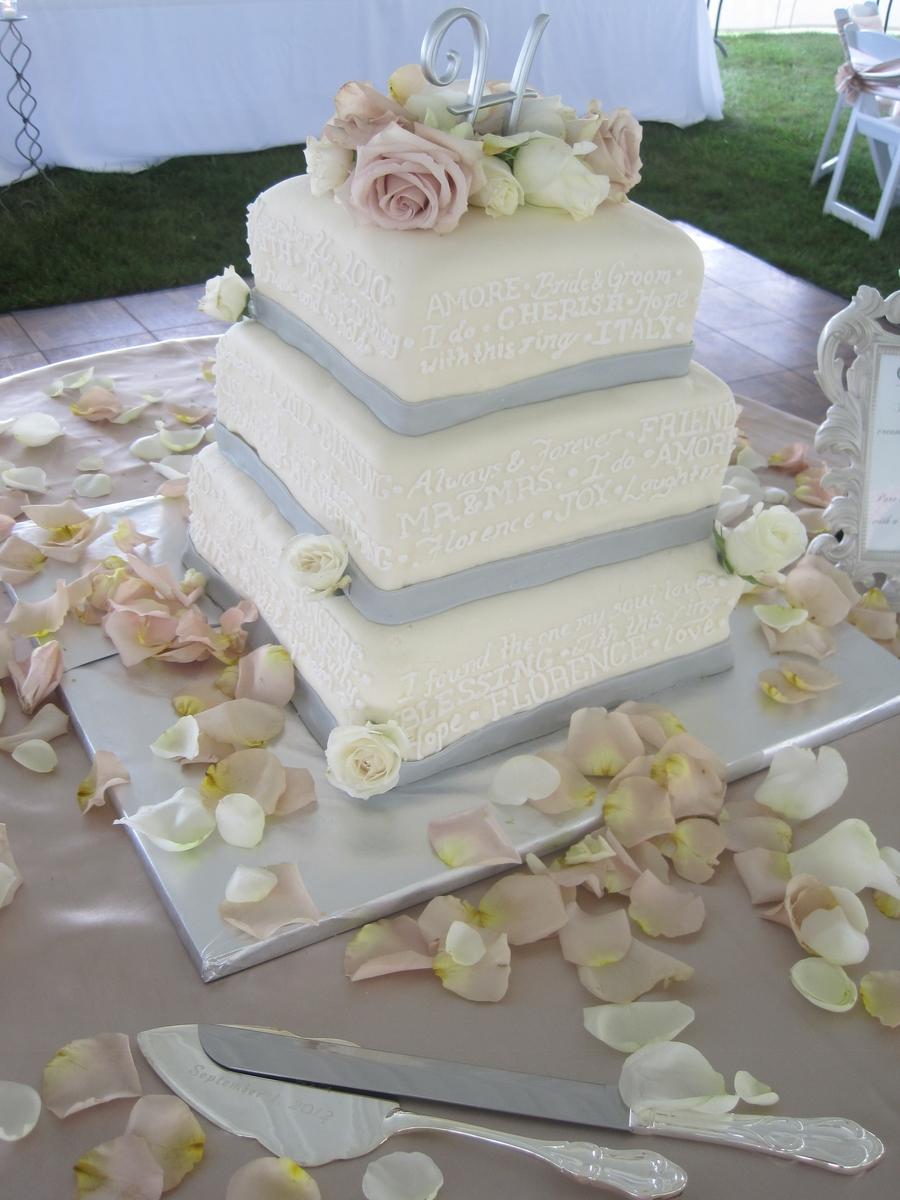 3-Tier Square Wedding Cake - CakeCentral.com