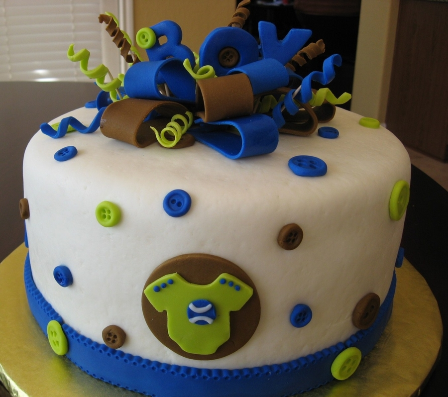 Baby Boy Button Cake on Cake Central