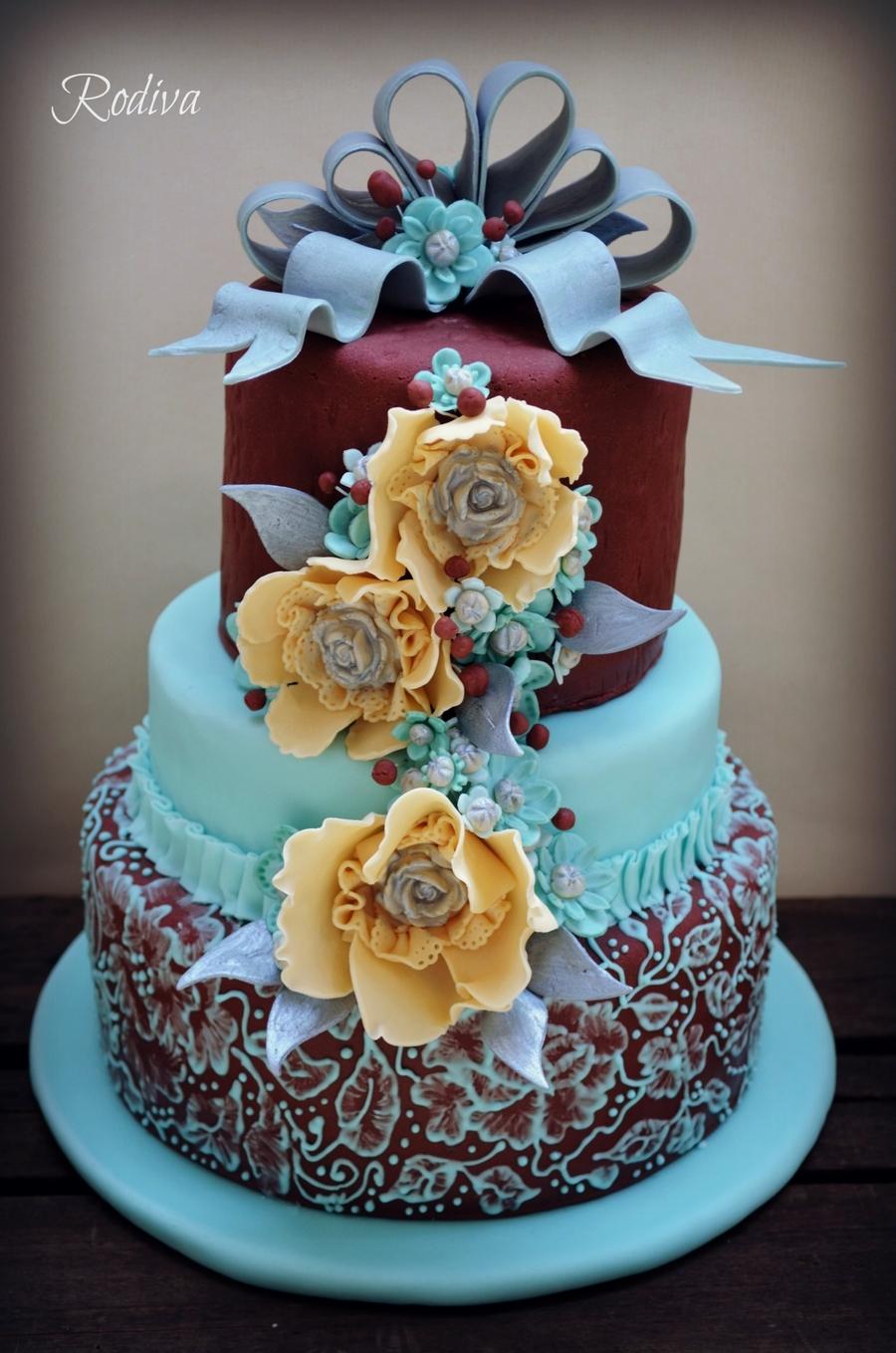 Teal amp Burgundy Bridal Shower Cake CakeCentralcom