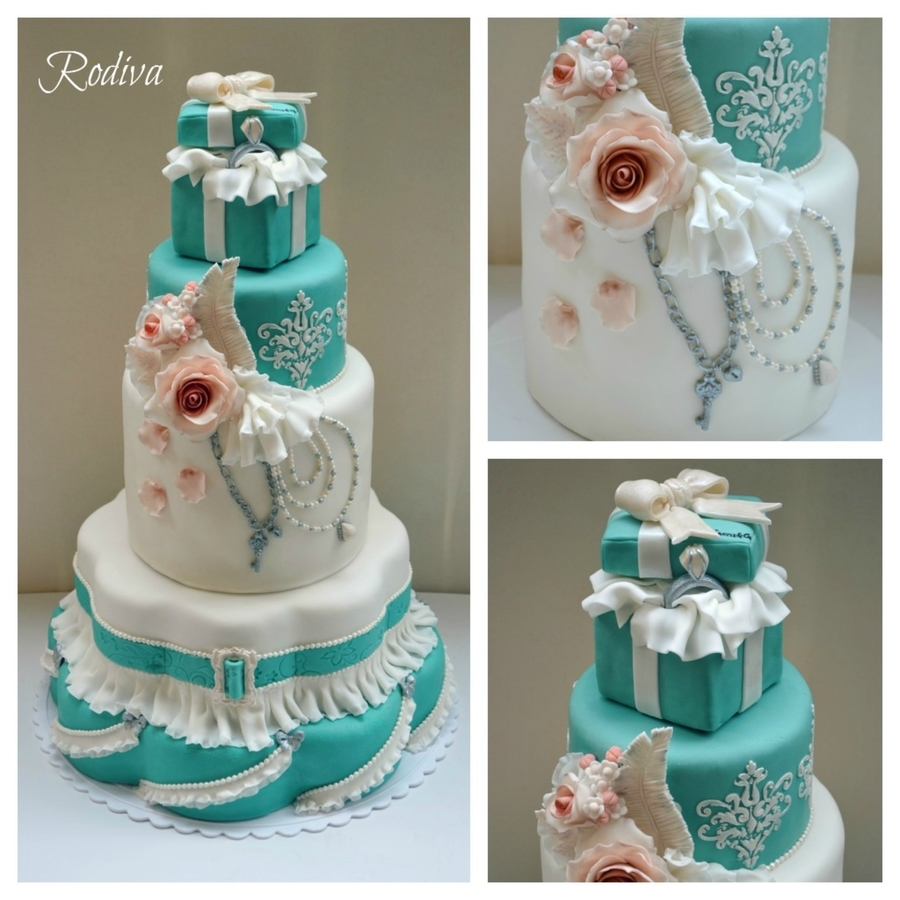 Tiffany Inspired Bridal Shower Cake on Cake Central