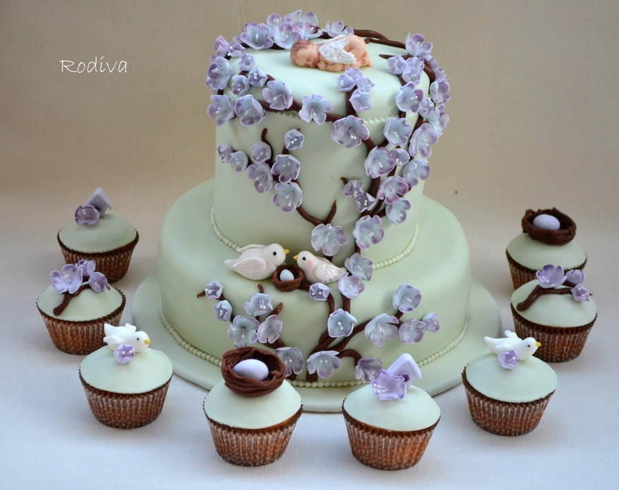 Lavender And Light Green Baby Shower Cake And Cupcakes Cakecentral