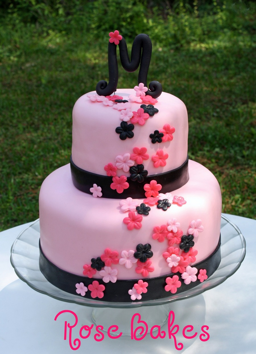 Pink & Black Bridal Shower Cake  on Cake Central