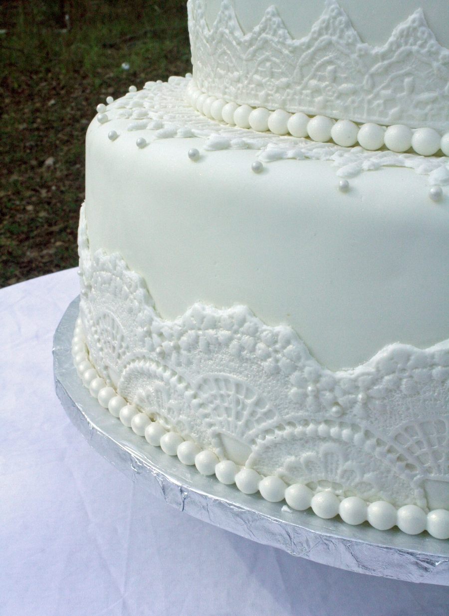 Elegant White Lace & Pearls Wedding Cake - CakeCentral.com