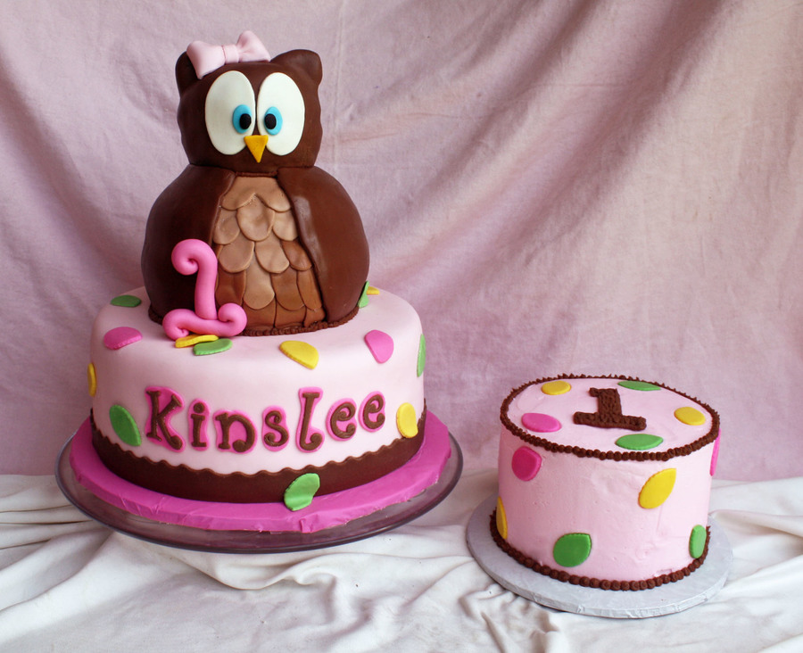 Look Whoos Turning 1 Owl Cake & Smash Cake on Cake Central