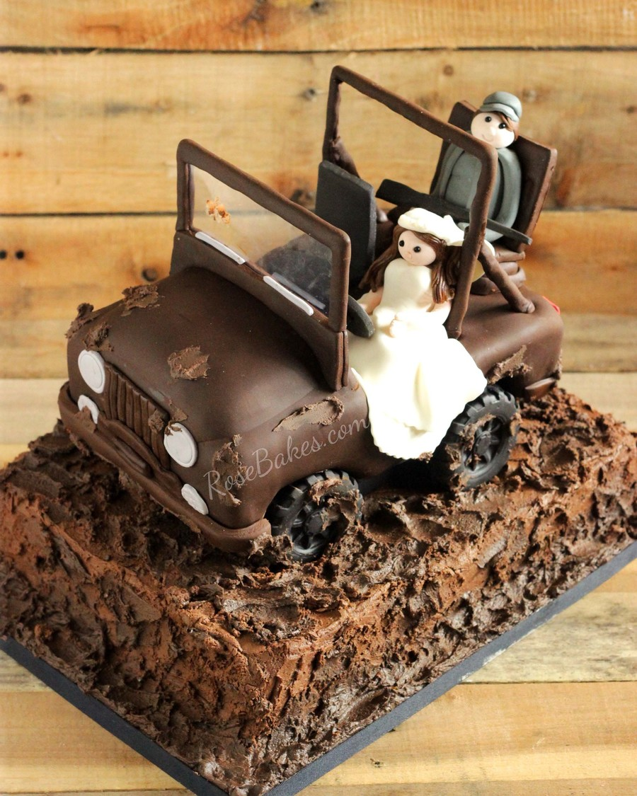 The Bride Wanted Her Groom To Have His Jeep For His Cake He Loves To Go Mud Riding And Hunting So We Also Incorporated Those Elements T on Cake Central