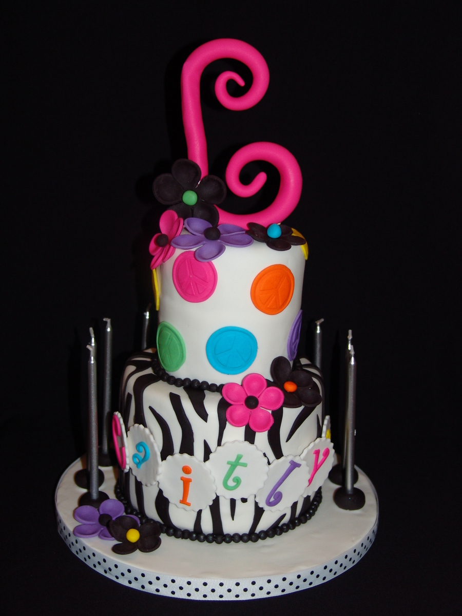 Rainbow Peace Sign Polka Dots And Zebra Stripes!!! on Cake Central