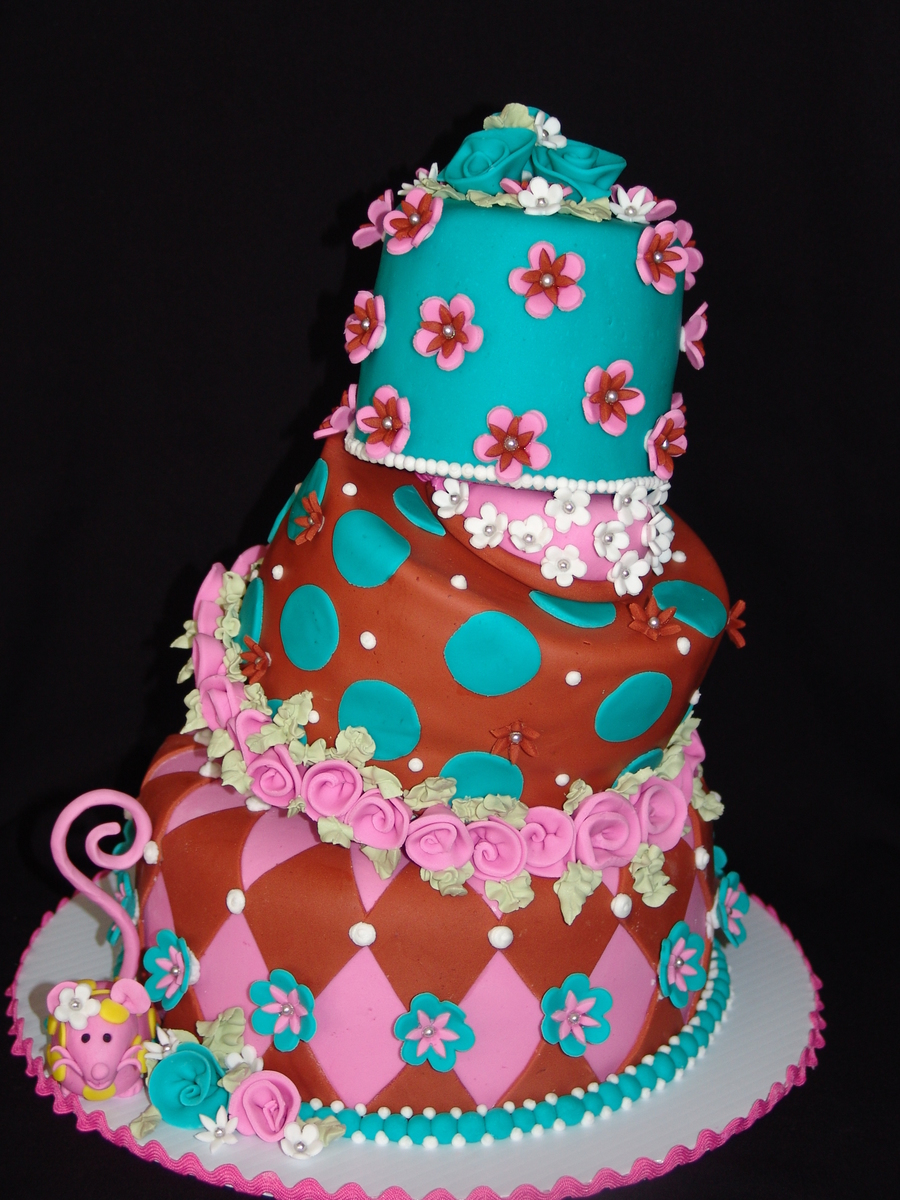 Whimsical Floral Topsy Turvy Birthday Cake! on Cake Central