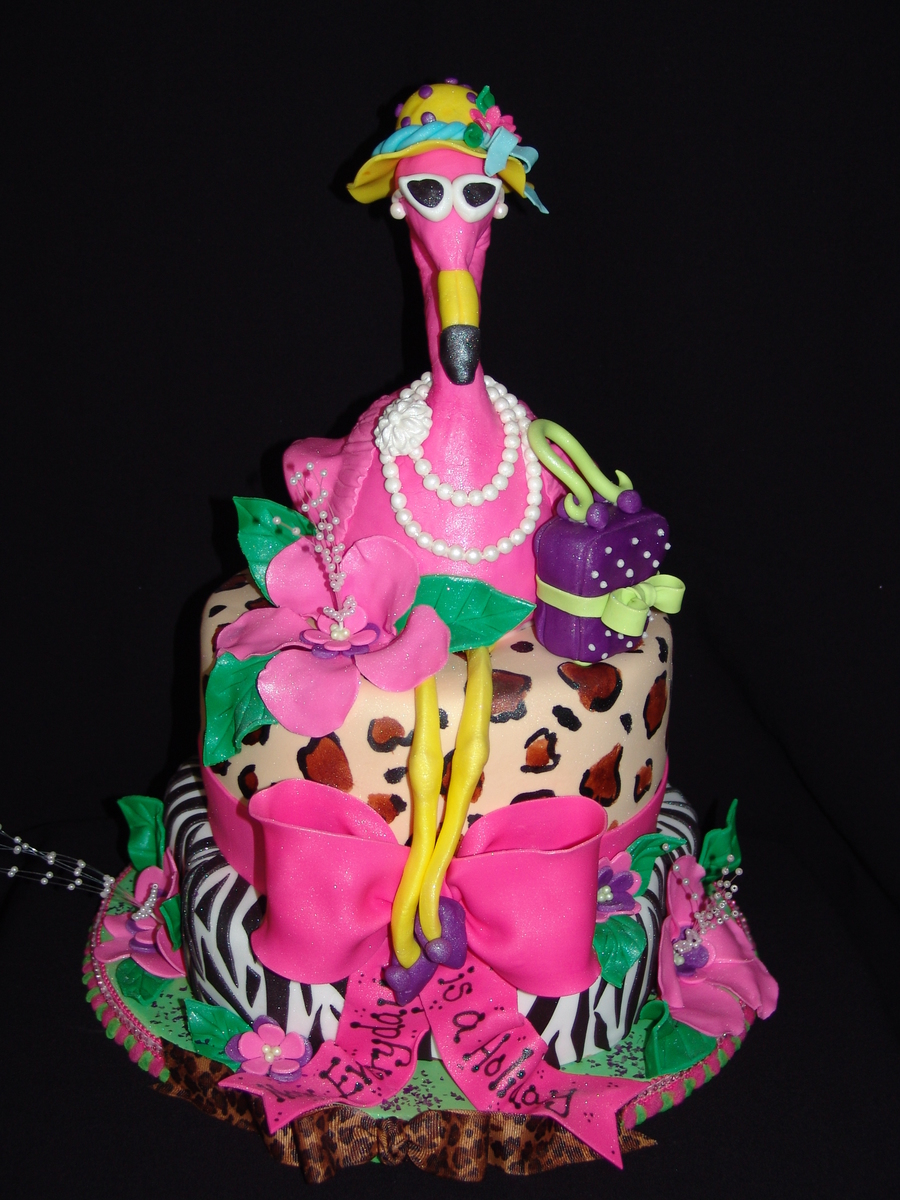Fancy retirement Pink Flamingo Cake CakeCentralcom