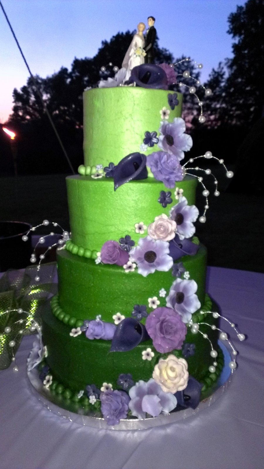 Purple Floral Wedding Cake on Cake Central