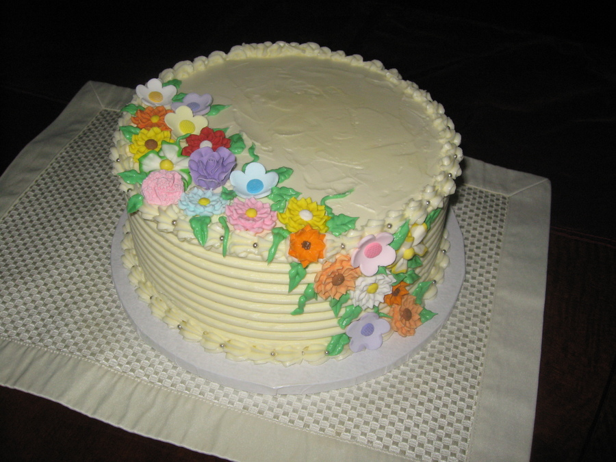 Vanilla Yellow Cake Buttercream Frosting Fondant And Gumpaste Flowers This Was For My Nextdoor Neighbors Birthday on Cake Central