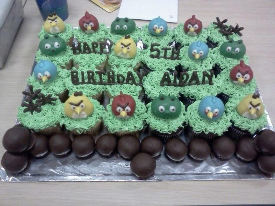 Angry Bird Cupcake Cake  on Cake Central