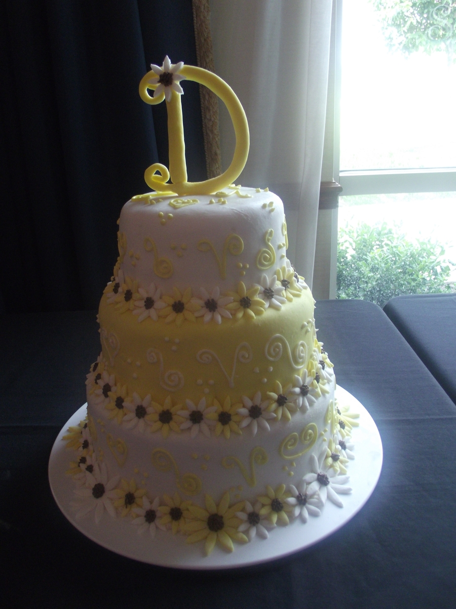 Daisy Wedding Cake  on Cake Central