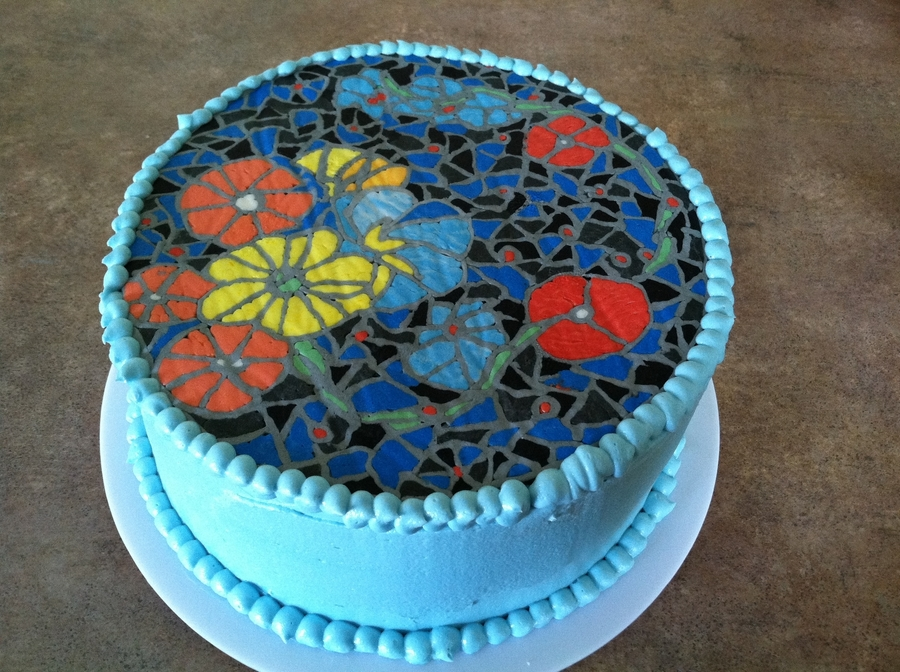 Blue Flowers Mosaic on Cake Central