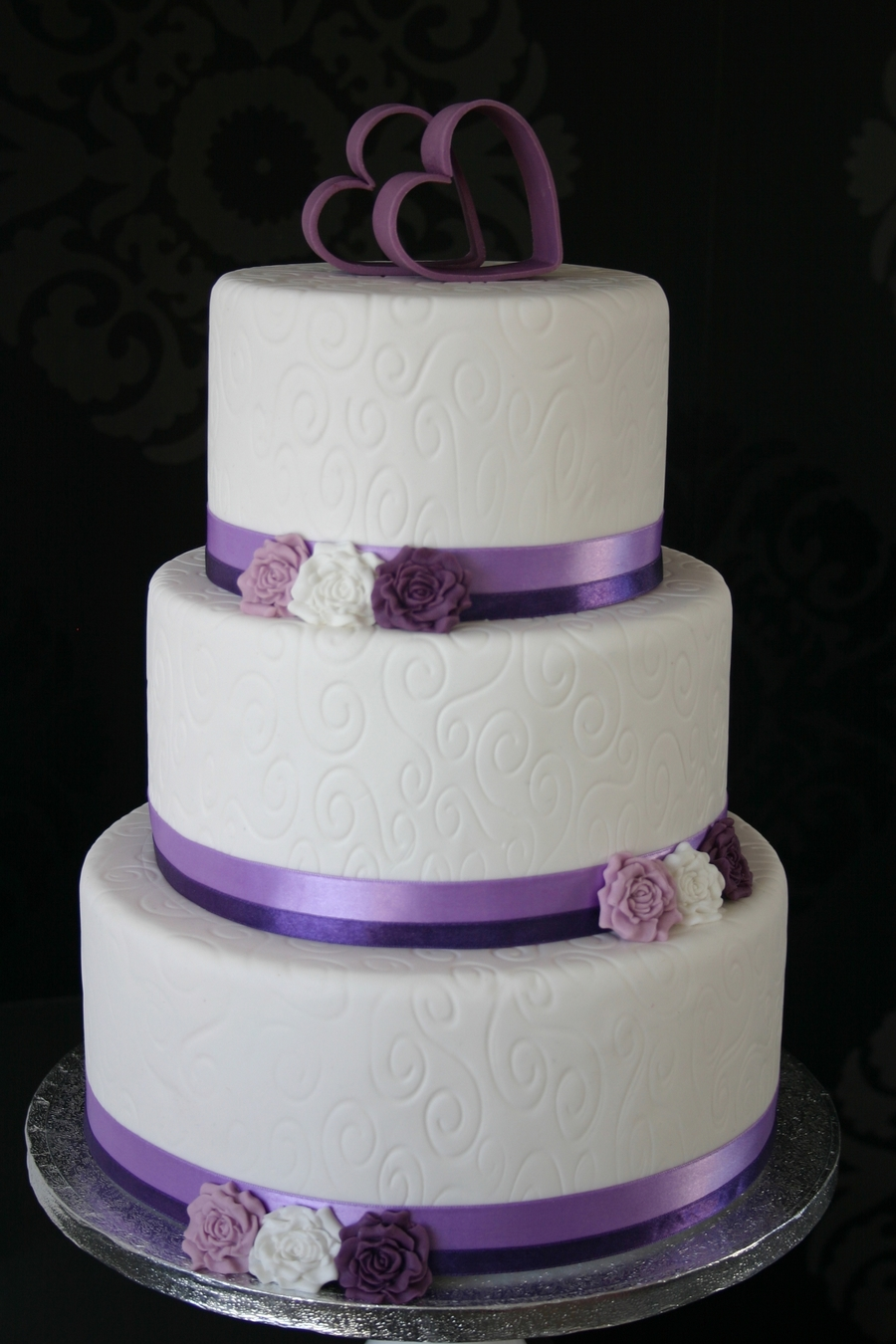 White Purple Wedding Cake - CakeCentral.com