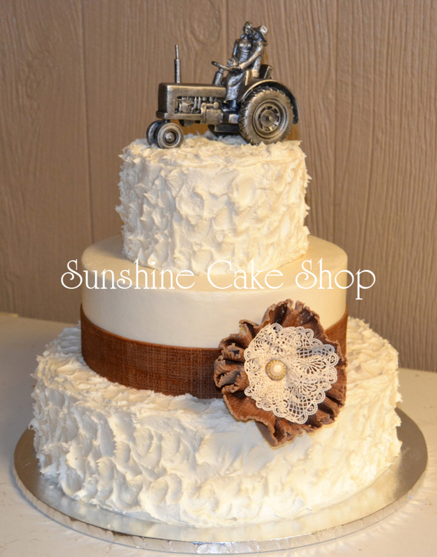 Burlap And Lace Rustic Wedding Cake Cakecentral Com