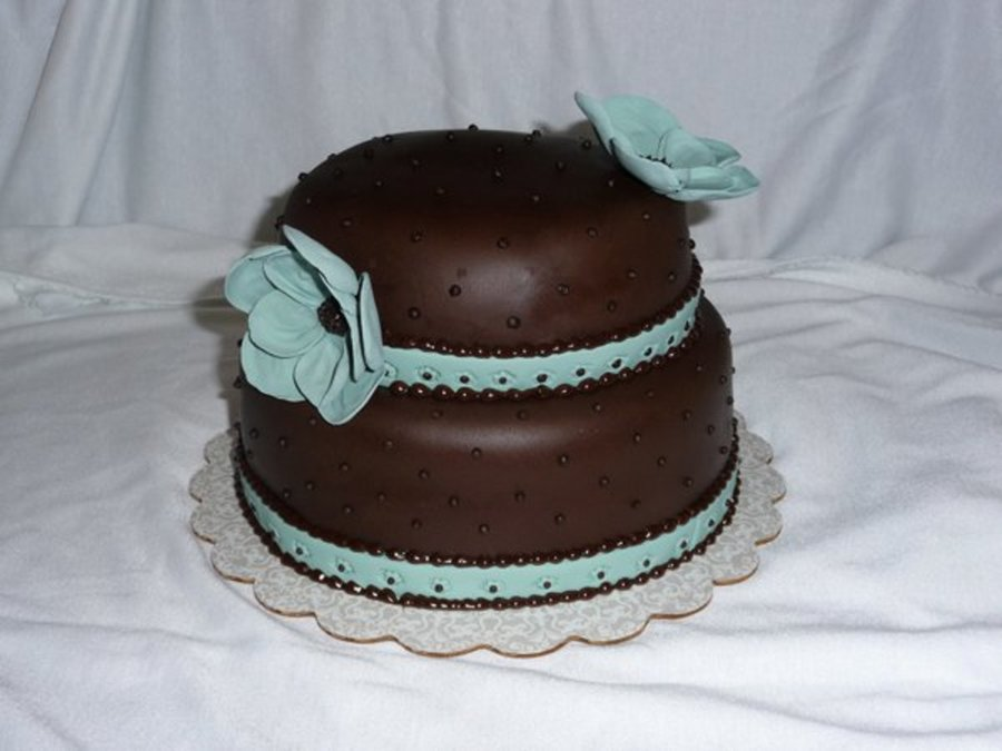 Brown & Blue With Flowers on Cake Central