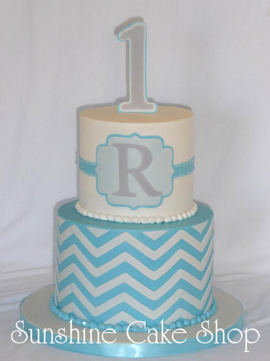 Chevron 1St Birthday Cake CakeCentralcom