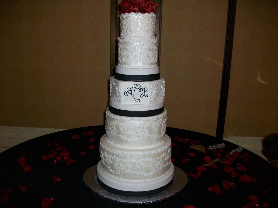 White, Black, And Red Wedding Cake on Cake Central