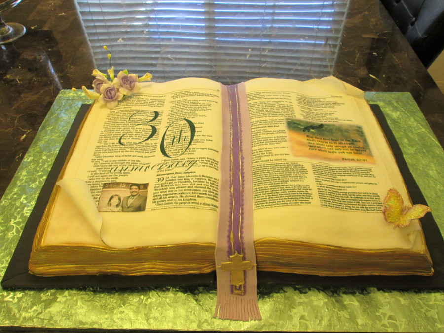 Open Bible Cake on Cake Central